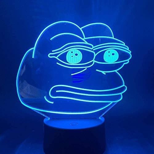 Luz De Noche Led 3D Pepe The Frog Funny Bitter Emoji Para Niños Lámpara De Mesa Decorativa Para DormitorioInfantil EnCasa