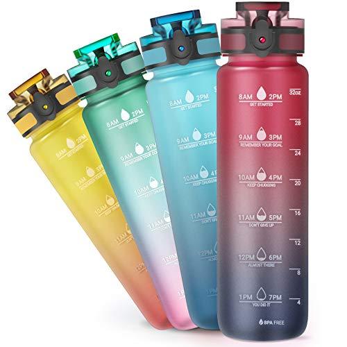 Sahara Sailor Trinkflasche,1000ml Sport Wasserflasche mit Motivational Zeitmarkierung,BPA frei Tritan Auslaufsicher Sportflasche,für Kinder Schule,Sports,Cycling,Camping,Uni