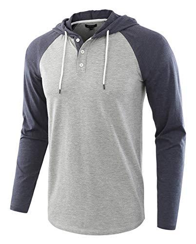 HETHCODE Men's Casual Lightweight Long Sleeve Raglan Henley Jersey Hoodie Shirt H.Gray/C.Blue M