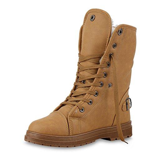 SCARPE VITA Warm Gefütterte Damen Stiefeletten Worker Boots Outdoor Schuhe 150385 Hellbraun Braun Schnallen 38
