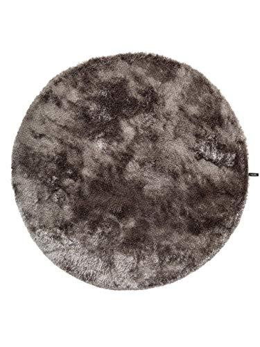 benuta Shaggy hoogpolig tapijt Whisper Rond 80 cm rund grijs