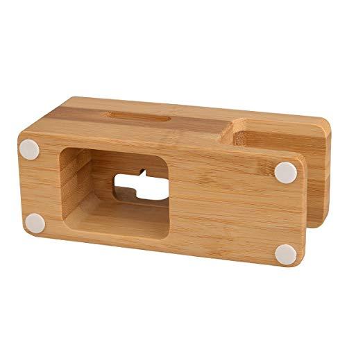 HaiQianXin 2in1 Bambus Holz Ladestation für Apple Watch Ladestation Ladestation Halter für Apple 5s 6 Dock Ständer Cradle Holder
