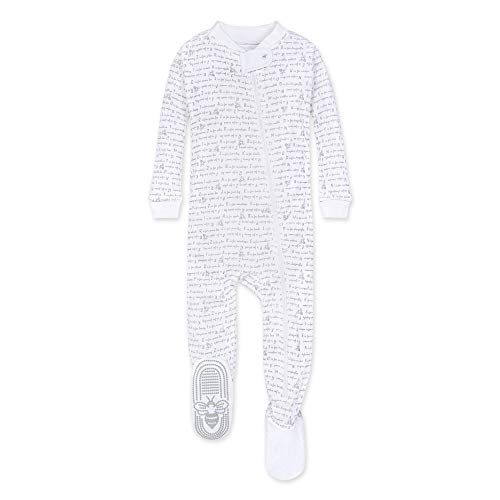 Burt's Bees Baby unisex baby Pajamas, Zip-front Non-slip Footed Pjs, Organic Cotton and Toddler Sleepers, Heather Grey Alphabet Bee, 12 Months US
