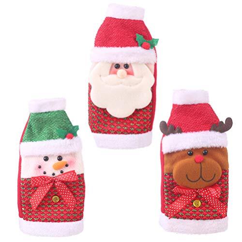 Healifty 3pcs Weihnachtsweinflaschen-Abdeckungsbeutel Sankt-Schneemannrenwein-Flaschendekoration