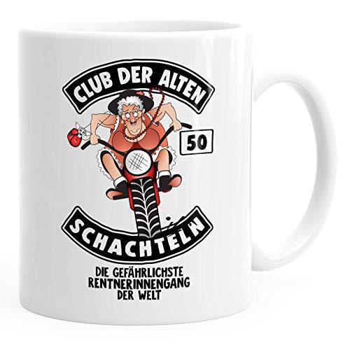 MoonWorks Geburtstags-Tasse Club Der Alten Schachteln Geschenk-Tasse für ältere Frauen Kaffee-Tasse Runder Geburtstag 50 weiß Unisize