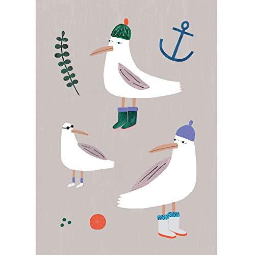 Kunstdruck Poster | Möwen Poster | Ungerahmt | Illustration, Grafik, Hamburg, Möwen, Maritim