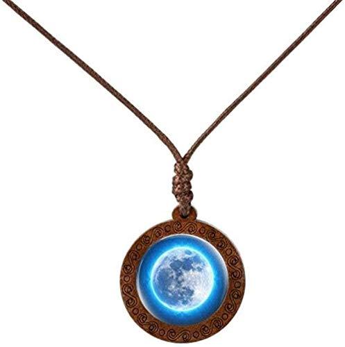 ZGYFJCH Co.,ltd Necklace Glamor Galaxy Nebula Necklace Space Earth Round Convex Glass Wood Pendant Necklace Ornament-5
