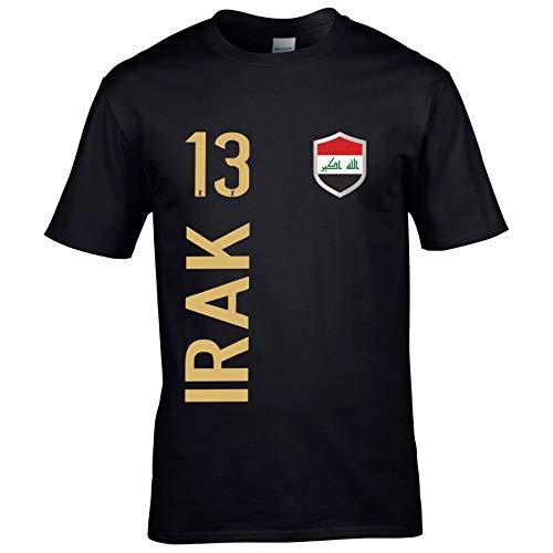 FanShirts4u Herren Fan-Shirt Jersey Trikot - IRAK - T-Shirt inkl. Druck Wunschname & Nummer WM (M, IRAK/schwarz)