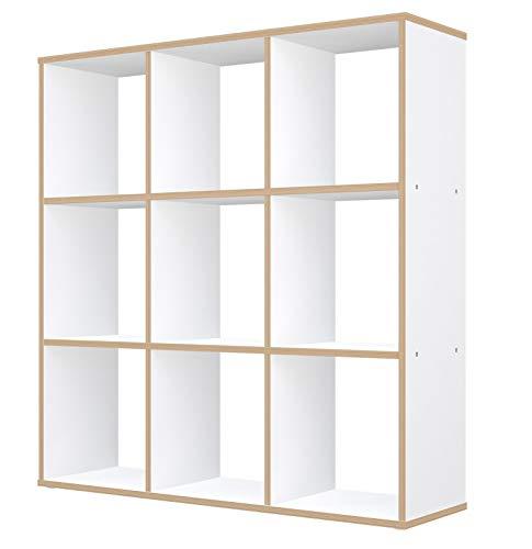 Polini Home Raumteiler Bücherregal Regal weiß-Holzoptik 9 Fächer aus Spanplatte