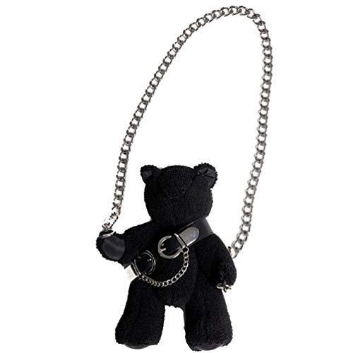 VALICLUD Umhängetasche mit Schulterriemen aus Plüsch, Teddybär, Gothic-Handtaschen und Handtaschen für Damen und Mädchen, Schwarz