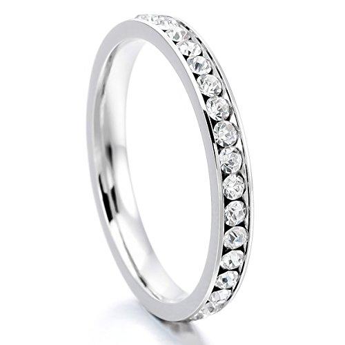 MunkiMix Edelstahl Ewigkeit Ewig Ring Band CZ Zirkon Zirkonia Weiß Hochzeit Größe 52 (16.6) Damen