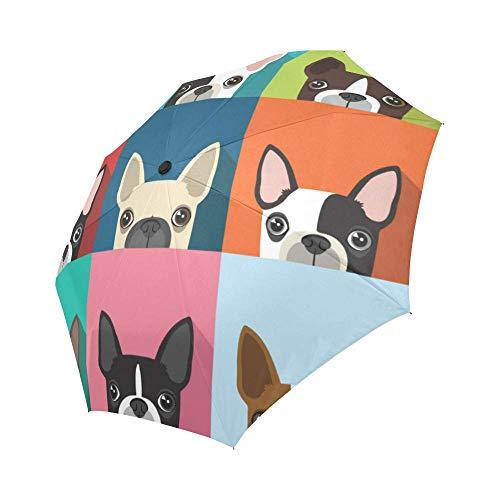 Windproof Travel Folding Umbrella Auto Open and Close for Women Men French Bulldogs, Black