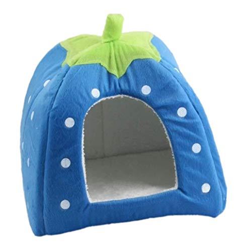 Demarkt Schöne Strawberry weicher Kaschmir Warm Pet Nest Hund, Katze, Bett klappbar (L, blau)