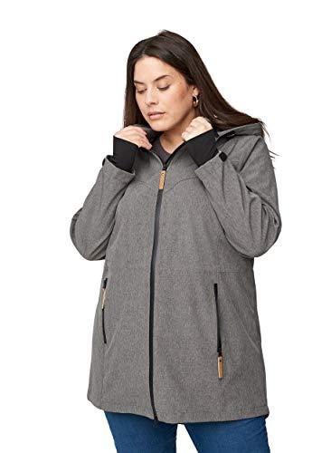Zizzi Große Größen Damen Softshell-Jacke mit Taschen und Kapuze Gr 42-56