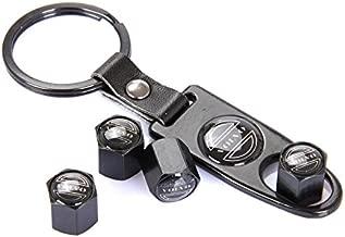 CzlpV Black Car Wheel Tire Valve Caps Tyre Stem Air Caps Keychain Styling For Volvo