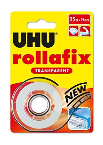 UHU rollafix Klebefilm, Transparentes Klebeband mit passendem Abroller, 19mm x 25 m