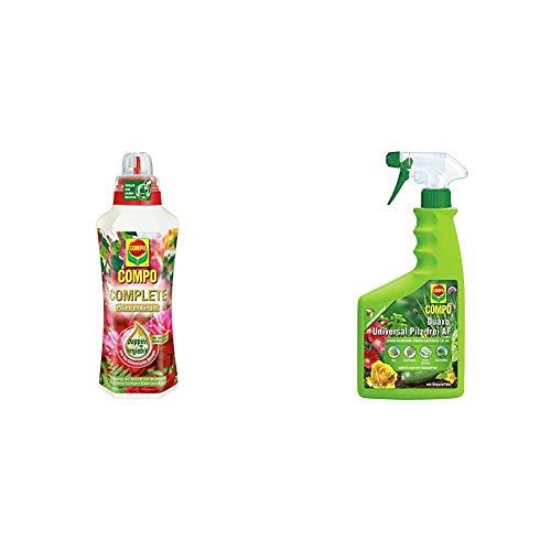Compo Complete Pflanzendünger, Universaldünger mit Kalzium und Magnesium, 1 Liter & Duaxo Universal Pilz-frei AF, Bekämpfung von Pilzkrankheiten an Zierpflanzen, Gemüse und Kräutern, 750 ml