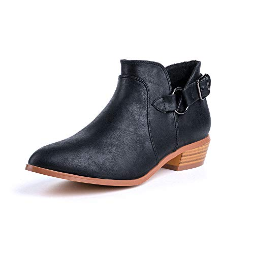 Botines Mujer Tacon Botas Planos Medio Tacon Ancho Botines Cowboy Invierno Piel Boots Bloque 3.5cm Hebilla Zapatos Otoño Botin Negros 41 EU