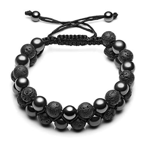 CrystalTears Mens 8mm Natural Stone Bead Bracelet Hematite Lava Rock Stone Bracelet Double Layer Adjustable Gemstone Bracelet for Boyfriend Husband Valentines Day Gift