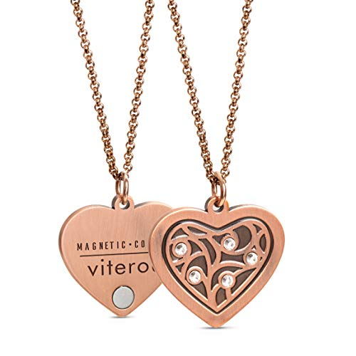VITEROU Womens Elegant Magnetic Pure Copper Therapy Love Heart Family Tree Pendant Necklace with Sparkling Crystals Pain Relief for Neck Arthritis Migraine Headaches Shoulders and Back,3500 Gauss