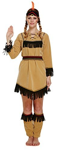 Nativo Americano Indio Disfraz Mujer Vaquero Mujer Adulto Disfraz UK 10 -14