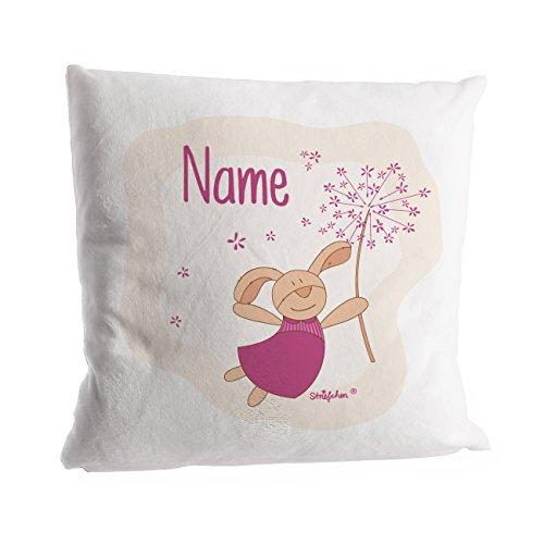 Striefchen® Kuschelkissen - Hase mit Pusteblume - mit Namen des Kindes in rosa