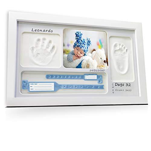 LALFOF® Cornice Impronte Neonato 7in1 con NOME e porta ciuccio neonato. Kit porta foto impronta mani e piedi neonati,ideale per regalo neonato maschio, regalo neonata femmina o per le future mamme
