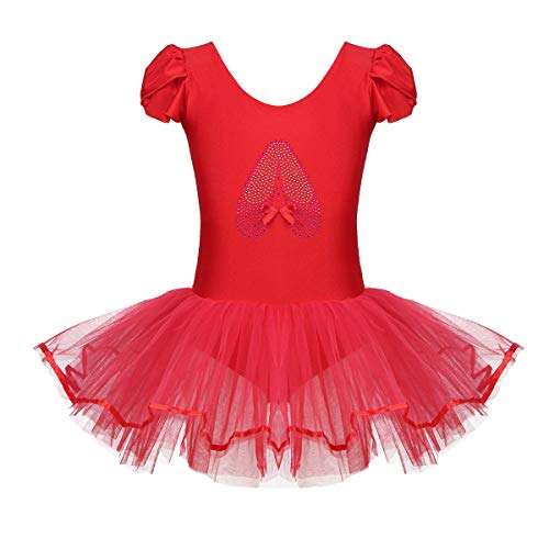 iixpin Vestido Infatil de Danza Maillot de Ballet Manga Cort