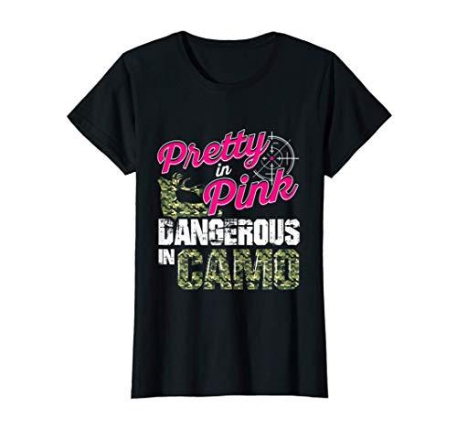 womens hunting shirts Womens Hunting Shirts For Women Dangerous In Camo Deer Hunter Gifts T-Shirt