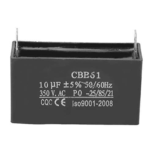 Dpofirs AC350V Condensador de Motor, 2 Pines Condensador de Arranque del Motor del Ventilador, 10UF ± 5% Capacidad, Condesador con Carcasa de Plástico de Genenador, Color Negro