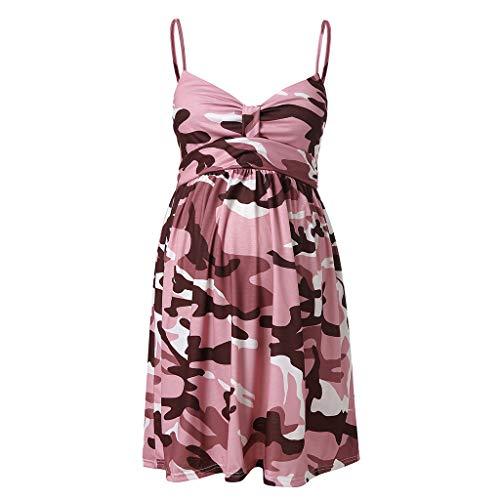 Ulanda-EU Dame Schwangere Frauen Umstandsmode Umstandskleid Tarnkleid Ärmelloses Kleid mit V-Ausschnitt Mutterschaft Stretchkleid Sommerkleid Maternity