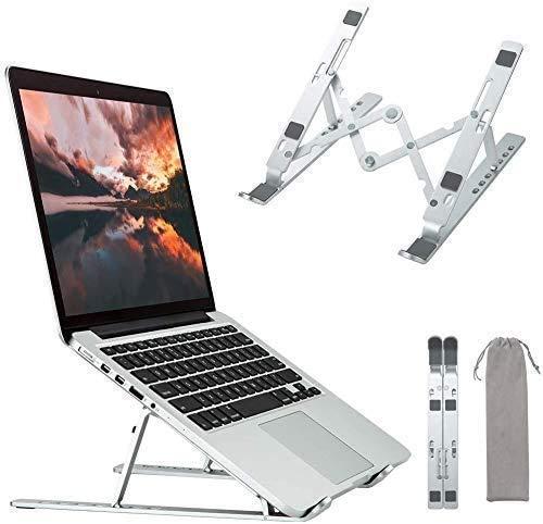 HEROPI Soporte Portátil, Aluminio Ventilado Refrigeración Soporte Ordenador Portátil Plegable, Adjustable Laptop Stand, Ligero Soporte Mesa para Macbook DELL XPS,HP,PC y Otros 10-15.6' Portatiles-F07