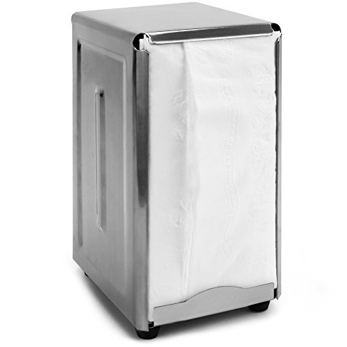 Back of House Ltd. Commercial Spring-Load Stainless Steel Tall-Fold Napkin Dispenser for Restaurants, Diners, Home Use