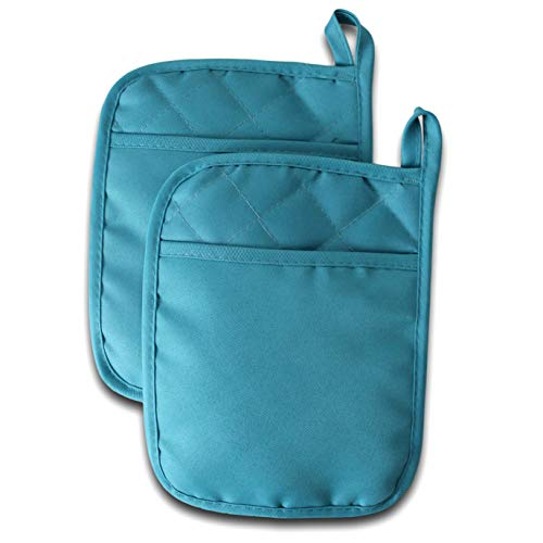 Thick Rectangular Oven Pot Holders with Hand Pockets and Hanging Loop Heat Resistant Hot Pads Potholders for Kitchens Pinch Mitts for Cooking 7X9 2 Pack Teal Turquoise