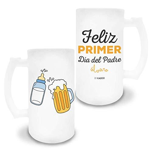 Jarra de Cerveza de Cristal Esmerilado Personalizada Día del Padre Feliz Primer Día del Padre (Dibujo)