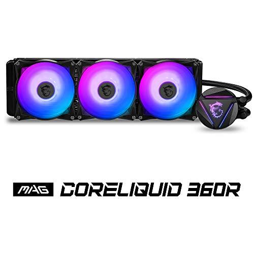 MSI MAG CoreLiquid 360R CPU-Kühler mit 360mm ARGB Kühler, 3 x 120mm PWM Lüfter, Intel/AMD kompatibel, bis zu 70.000 Betriebsstunden, rotierendes Logo, Mystic Light