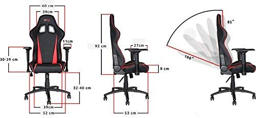 GT OMEGA Pro Chaise de Jeux de Courses en Étoffe avec Support Lombaire - Respirant & Ergonomique Chaise de Bureau avec Réglable Inclinable Arrière - Siège Esport pour Console de Jeu Ultime - Gris