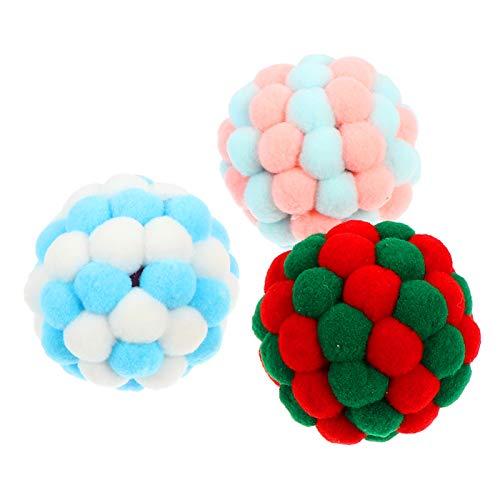 BESPORTBLE 3 Stück Haustier Hund Ball Spielzeug Haustier Klingendes Spielzeug Haustier Zahnen Spielzeug Plüsch Quietschende Bälle für Hund im Freien Weihnachtsferien Geschenke