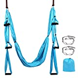 Domaker Aerial Yoga Swing Set,Yoga Hammock Kit,Antigravity Ceiling Hanging Yoga Sling,Flying Yoga Inversion Tool for Gym Home Fitness with Extension Straps and Sling Kit
