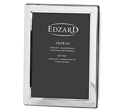 EDZARD Fotorahmen Salerno für Foto 13 x 18 cm, edel versilbert, anlaufgeschützt, mit 2 Aufhängern