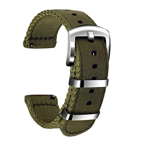 Ullchro Nylon Correa Reloj Calidad Alta Correa Relojes Militar del ejército - 18mm, 20mm, 22mm, 24mm Correa Reloj con Hebilla de Acero Inoxidable (24mm, Army Green)