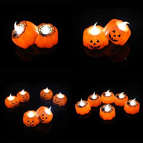 AKDXM Candela LED Senza Fiamme Zucca Tealight LED Batteria Flameless Pumpkin Candle Lights con Luci Tremolanti per Decorazioni di Halloween