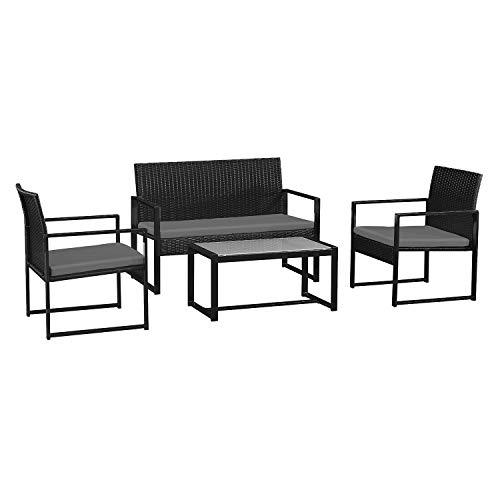 BENEFFITO CAPRERA - Muebles de jardín de Resina Trenzada con Cojines - Estructura de Acero - 4 plazas - Sofá de 2 plazas, 2 sillones, 1 Mesa de Centro Rectangular - Negro/Gris