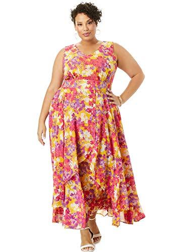 Jessica London Women's Plus Size Flyaway Maxi Dress - 14 W, Yellow Watercolor Floral