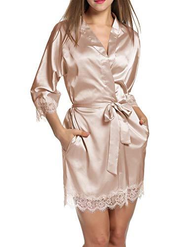 Unibelle Damen Morgenmantel Bademantel Satin Sexy Kimono mit Taschen Kurz Robe mit Gürtel Nachthemd für Braut Nachtwäsche Mit Blumenspitze