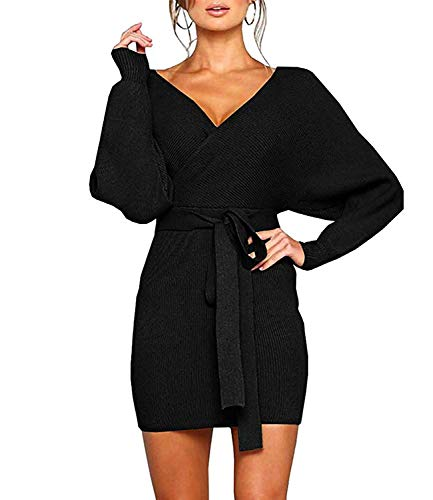 ROVLET Women's Off Shoulder Wrap V Neck Ribbed Knit Bodycon Dress Long Sleeve One Piece Mini Sweater Dress with Belt (Medium, Black)