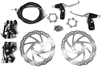 Star-Art Front and Back Disc Brake Kit - Aluminum Alloy Calipers, 2 Pcs Stainless Steel 160 mm Rotors & Cable & Brake Lever & 12 Bolts, Freewheel Threaded Hubs Hole Distance of 48mm