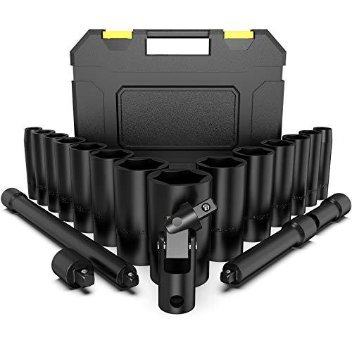 Juego de Llaves de Vaso de Impacto, papasbox 19 PCS (3/8' a 1-1/4') Vasos impacto 1/2 de Pulgada, 3 Varilla de Extensión(74, 125, 252mm), 3/8' a 1/2' Adaptador y Junta Universal, 6 Puntos Torque