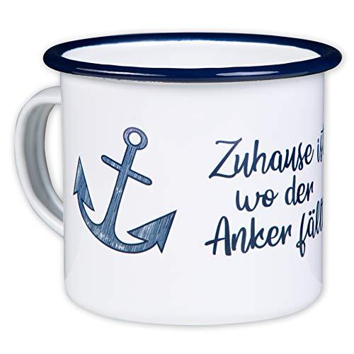 ZUHAUSE IST WO DER Anker FÄLLT - Hochwertiger Emaille Becher - mit maritimen Anker Design für Segler und Boot Liebhaber - leicht und robust - von MUGSY.de