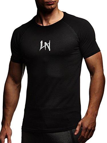 Leif Nelson Camiseta para Hombre con Cuello Redondo de Gimnasia Ropa de Deporte LN-8041N Negro-Gris Small